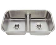 POLARIS P215 HALF DIVIDE STAINLESS STEEL KITCHEN SINK 32-1/2 INCH BRUSHED SATIN