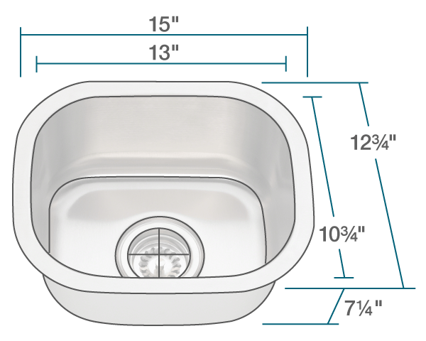 Polaris P2151 Stainless Steel Bar Sink 15 Inch Brushed Satin