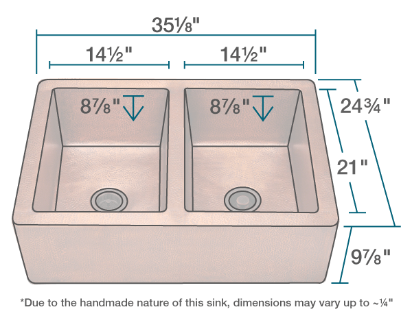 POLARIS P219 EQUAL DOUBLE BOWL COPPER APRON SINK 35-1/8 INCH HAMMERED COPPER