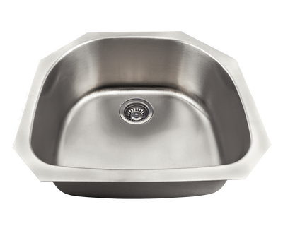 POLARIS P2401US D-BOWL STAINLESS STEEL KITCHEN SINK 23-3/4 INCH BRUSHED SATIN