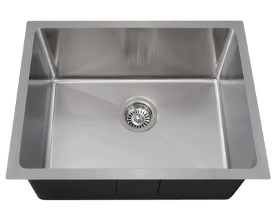 Polaris P3281 Stainless Steel Single Bowl 3/4 Inch Radius Kitchen Sink 23 Inch Brushed Satin