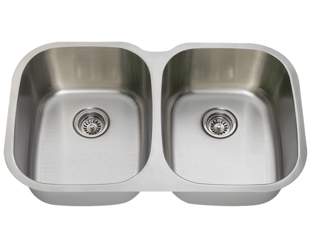POLARIS P405-16 LARGE DOUBLE BOWL STAINLESS STEEL KITCHEN SINK IN BRUSHED SATIN