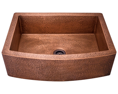 POLARIS P419 SINGLE BOWL COPPER APRON SINK 33-1/4 INCH HAMMERED COPPER