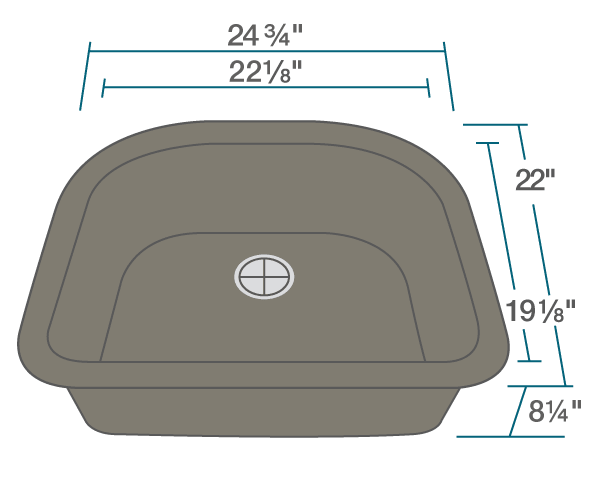 Polaris P428M24-3/4 Inch D-Bowl AstraGranite Sink