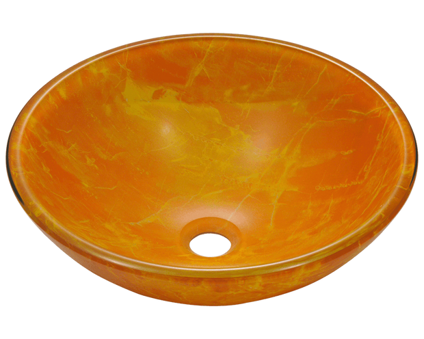POLARIS P506 DOUBLE LAYER GLASS VESSEL SINK 16-1/2 INCH HAND PAINTED