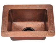 POLARIS P509 SMALL SINGLE BOWL COPPER SINK 16-1/2 INCH HAMMERED COPPER
