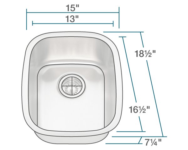 Polaris P5181 Stainless Steel Bar Sink 15 Inch Brushed Satin