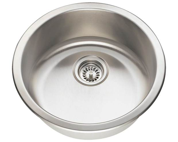 POLARIS P564-16 CIRCULAR SINGLE BOWL STAINLESS STEEL BAR SINK IN BRUSHED SATIN