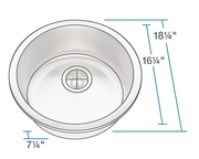POLARIS P564 CIRCULAR STAINLESS STEEL BAR SINK 18-1/4 INCH BRUSHED SATIN