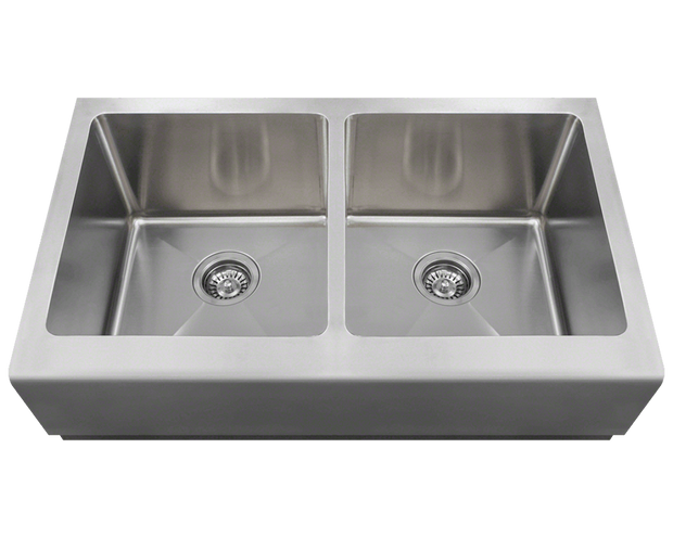 POLARIS P604 DOUBLE EQUAL BOWL APRON SINK 32-3/4 INCH BRUSHED SATIN