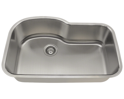 POLARIS P643-16 16 GAUGE SINGLE BOWL STAINLESS STEEL KITCHEN SINK IN BRUSHED SATIN