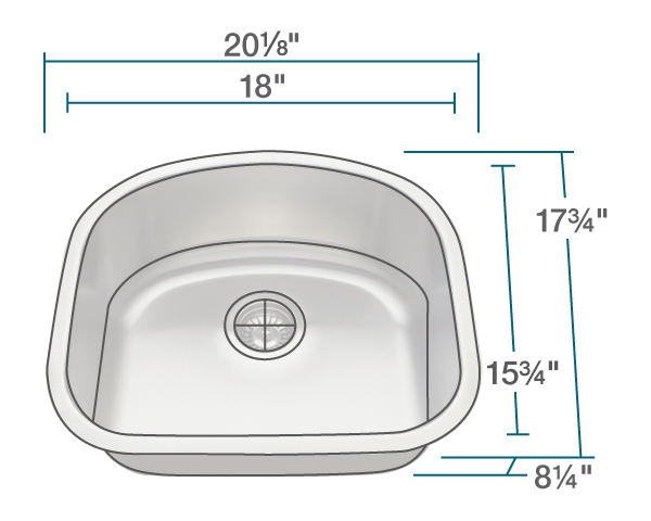 POLARIS P812 D-BOWL STAINLESS STEEL SINK 20-1/8 INCH BRUSHED SATIN