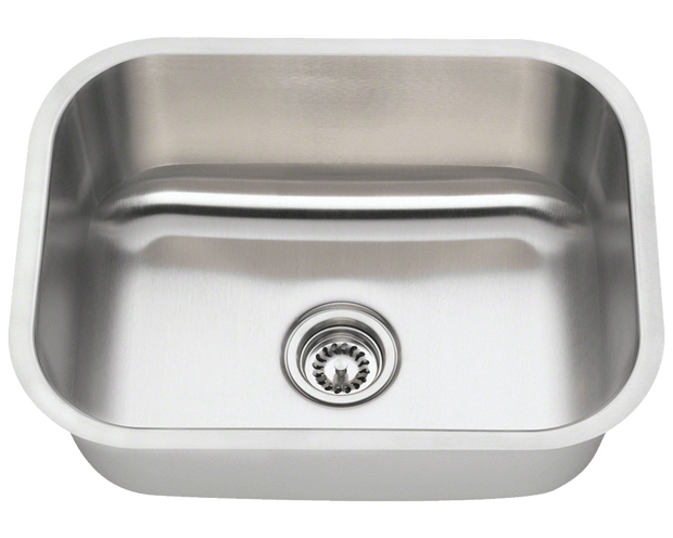Polaris P8132 Single Bowl Stainless Steel Kitchen Sink 23 Inch Brushed Satin