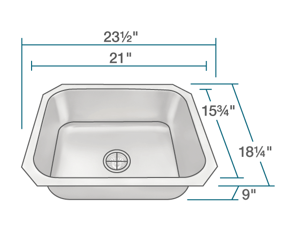 POLARIS P8301US SINGLE BOWL STAINLESS STEEL KITCHEN SINK 23-1/2 INCH BRUSHED SATIN