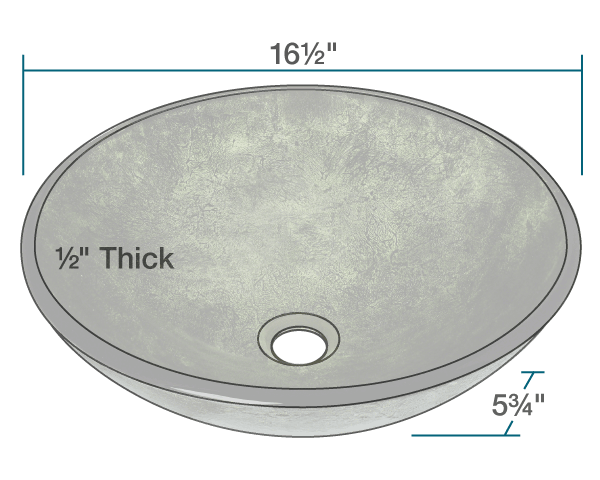 POLARIS P926 FOREST GREEN GLASS VESSEL BATHROOM SINK 16-1/2 INCH FOIL UNDERTONE