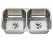 POLARIS PA205 DOUBLE BOWL STAINLESS STEEL KITCHEN SINK 32-1/2 INCH BRUSHED SATIN