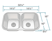 POLARIS PA8123 DOUBLE BOWL UNDERMOUNT STAINLESS STEEL SINK 32-1/4 INCH BRUSHED SATIN