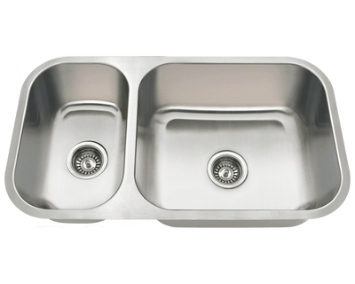 POLARIS PB8123R 18 GAUGE DOUBLE BOWL UNDERMOUNT STAINLESS STEEL KITCHEN SINK IN BRUSHED SATIN
