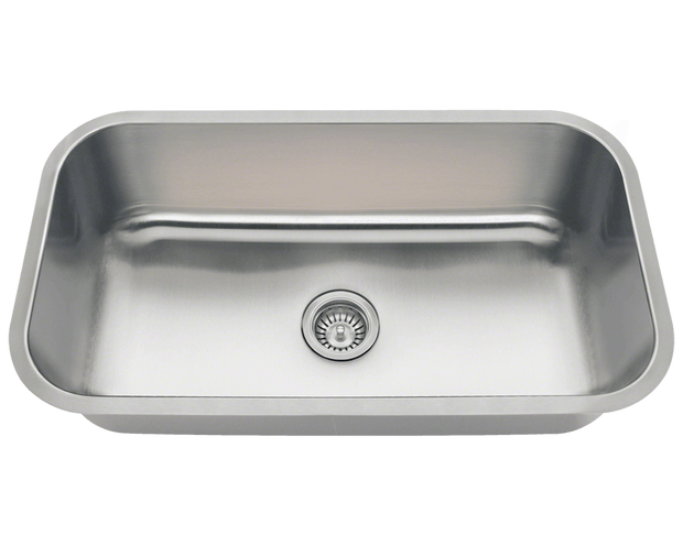 POLARIS PC8123 SINGLE BOWL UNDERMOUNT STAINLESS STEEL SINK 32-1/4 INCH BRUSHED SATIN