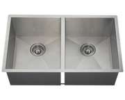 POLARIS PD2233 DOUBLE EQUAL RECTANGULAR STAINLESS STEEL KITCHEN SINK 32 INCH BRUSHED SATIN