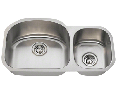 POLARIS PL105-16 16 GAUGE DOUBLE BOWL UNDERMOUNT STAINLESS STEEL KITCHEN SINK IN BRUSHED SATIN