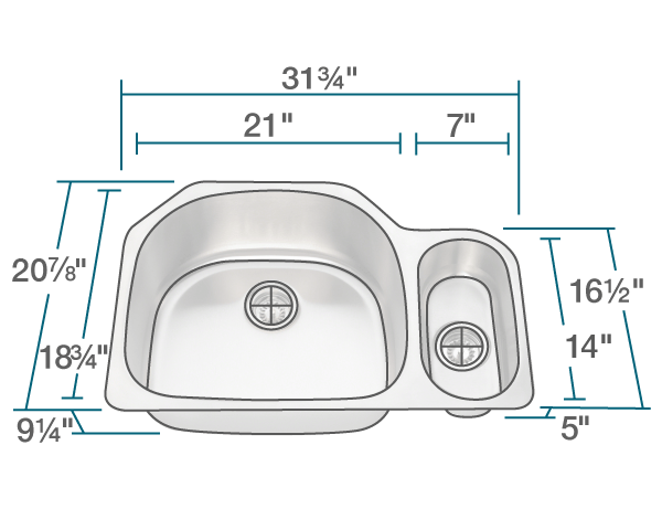 POLARIS PL123-16 OFFSET STAINLESS STEEL KITCHEN SINK 31-3/4 INCH BRUSHED SATIN
