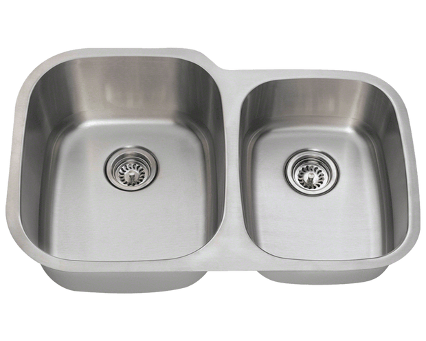 POLARIS PL305-16 16 GAUGE DOUBLE BOWL UNDERMOUNT STAINLESS STEEL KITCHEN SINK IN BRUSHED SATIN