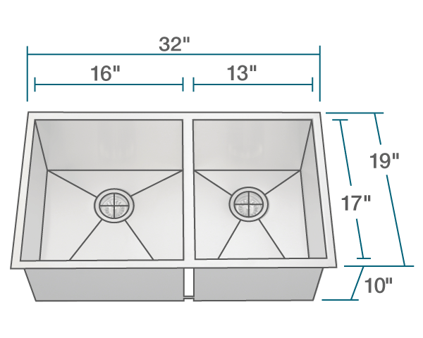 POLARIS POL2233 DOUBLE RECTANGULAR STAINLESS STEEL SINK 32 INCH BRUSHED SATIN