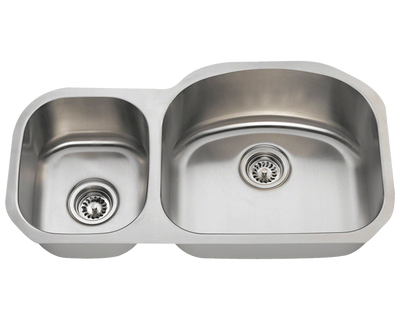 POLARIS PR105-16 GAUGE DOUBLE BOWL UNDERMOUNT STAINLESS STEEL KITCHEN SINK IN BRUSHED SATIN