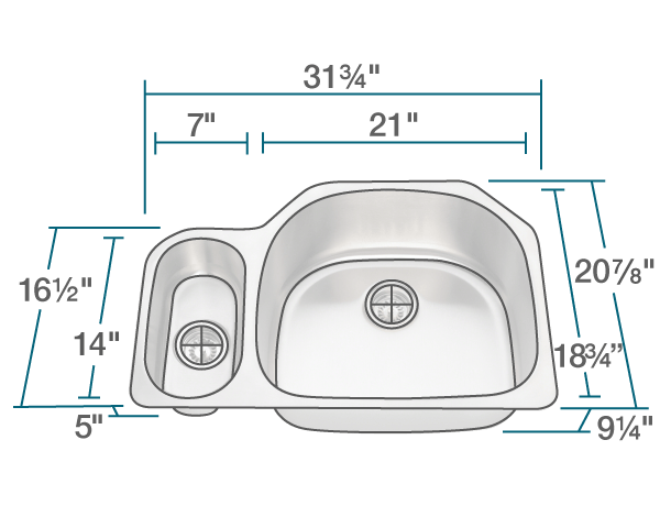 POLARIS PR123-16 16 GAUGE DOUBLE BOWL UNDERMOUNT STAINLESS STEEL KITCHEN SINK IN BRUSHED SATIN