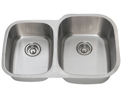 Polaris PR305-16 16 Gauge Double Bowl Undermount Stainless Steel Kitchen Sink in Brushed Satin