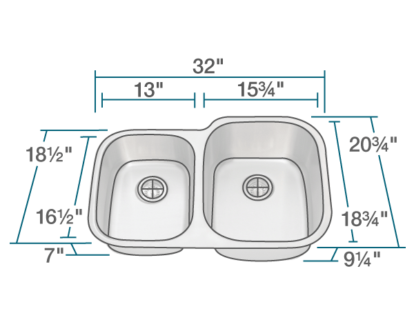 POLARIS PR305 REVERSE OFFSET STAINLESS STEEL SINK 32 INCH BRUSHED SATIN