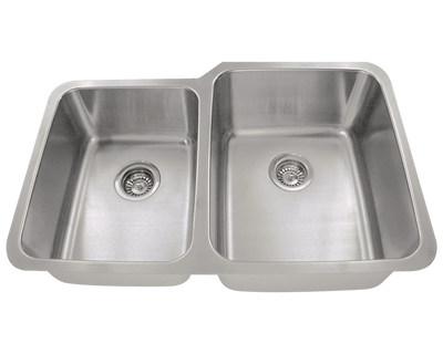 POLARIS PR315 OFFSET DOUBLE BOWL STAINLESS STEEL KITCHEN SINK 32 INCH BRUSHED SATIN