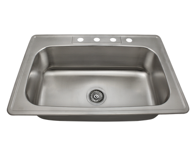 POLARIS PT0301US SINGLE BOWL TOPMOUNT STAINLESS STEEL SINK 32-7/8 INCH BRUSHED SATIN
