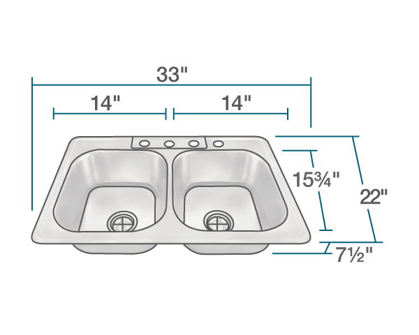 POLARIS PT2201US TOPMOUNT DOUBLE EQUAL BOWL STAINLESS STEEL SINK 33 INCH BRUSHED SATIN