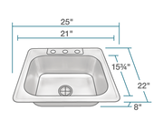 POLARIS PT8301US SINGLE BOWL TOPMOUNT STAINLESS STEEL SINK 25 INCH BRUSHED SATIN
