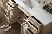 James Martin 148-V60SG-SG-SW Weston 60 Inch Single Vanity with Glass Doors, Sea Gull with Snow White Top