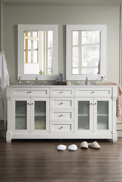 James Martin 148-V72G-CW-AF Weston 72 Inch Double Vanity with Glass Doors, Cottage White with Arctic Fall Top