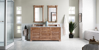James Martin 238-104-5711-3SNW Savannah 72 Inch Driftwood Double Vanity with Snow Carrara White Top