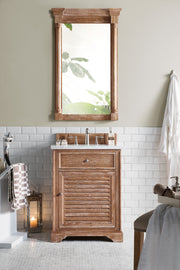 James Martin 238-104-V26-DRF-2CAR Savannah 26 Inch Driftwood Single Vanity with Carrara White Stone Top