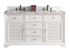 James Martin 238-104-V60D-CWH-4GLB Savannah 60 Inch Cottage White Double Vanity with Galala Beige Stone Top