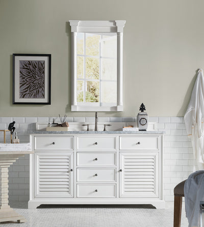 James Martin 238-104-V60S-CWH-2CAR Savannah 60 Inch Cottage White Single Vanity with 2cm Carrara White Stone Top