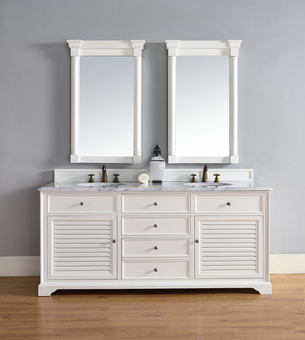 James Martin 238-104-V72-CWH-3SNW Savannah 72 Inch Cottage White Double Vanity with Snow White Quartz Top