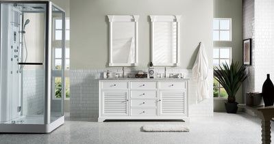 James Martin 238-104-V72-CWH-3SHG Savannah 72 Inch Cottage White Double Vanity with Shadow Gray Quartz Top