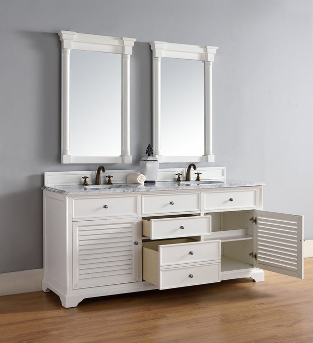 James Martin 238-104-V72-CWH-2CAR Savannah 72 Inch Cottage White Double Vanity with 2cm Carrara White Stone Top