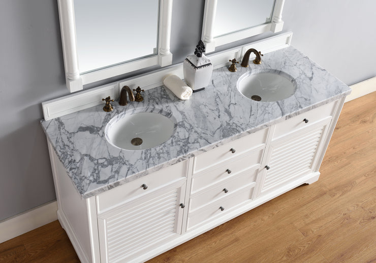 James Martin 238-104-V72-CWH-4GLB Savannah 72 Inch Cottage White Double Vanity with Galala Beige Stone Top