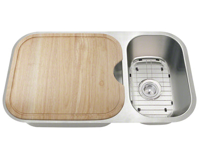 THE POLARIS PB8123L-16-ENS 16 GAUGE ENSEMBLE UNDERMOUNT STAINLESS STEEL KITCHEN SINK IN BRUSHED SATIN