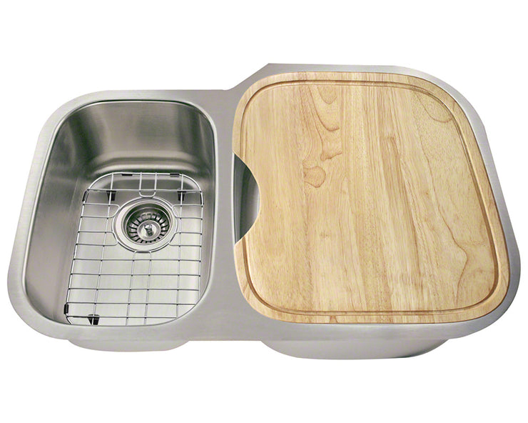 POLARIS PR605-ENS 18 GAUGE KITCHEN ENSEMBLE (SINK, 2 STANDARD STRAINERS, 2 SINK GRIDS, AND CUTTING BOARD)