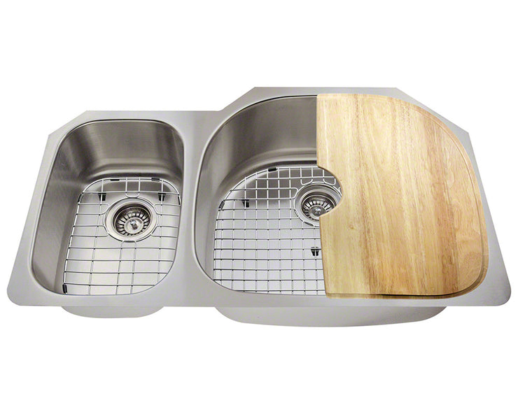POLARIS PR905-ENS 18 GAUGE KITCHEN ENSEMBLE (SINK, 2 STANDARD STRAINERS, 2 SINK GRIDS, AND CUTTING BOARD)