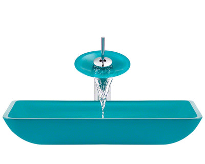 POLARIS P046-TQ-C 16.38 INCH TURQUOISE BATHROOM WATERFALL FAUCET ENSEMBLE CHROME